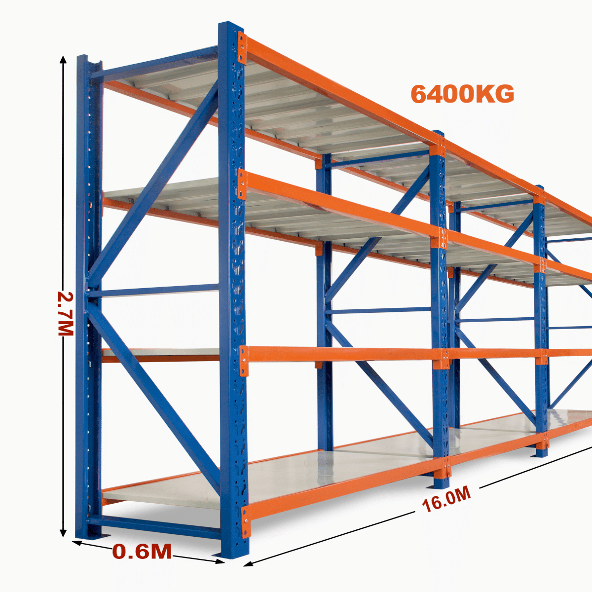 Heavy Duty Storage Shelving 2700h X 16000w X 600d
